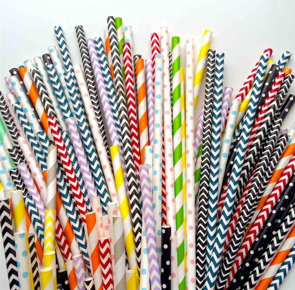 superbes pailles en papier personnalisees et originales couleurs multiplent