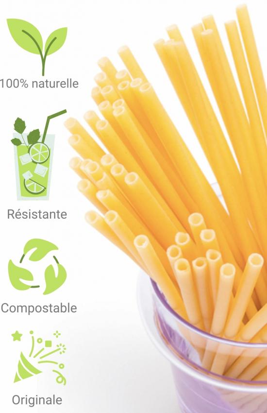 Paille en pate naturelle biodegradable