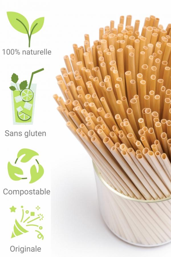 Paille biodégradable en tige de blé (Lot de 50)