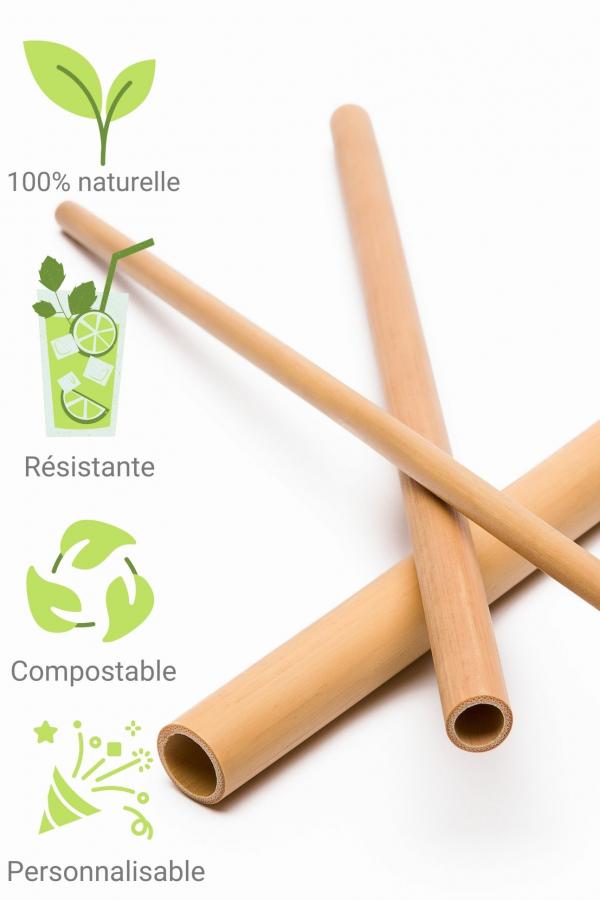 Paille bambou reutilisable et personnalisable