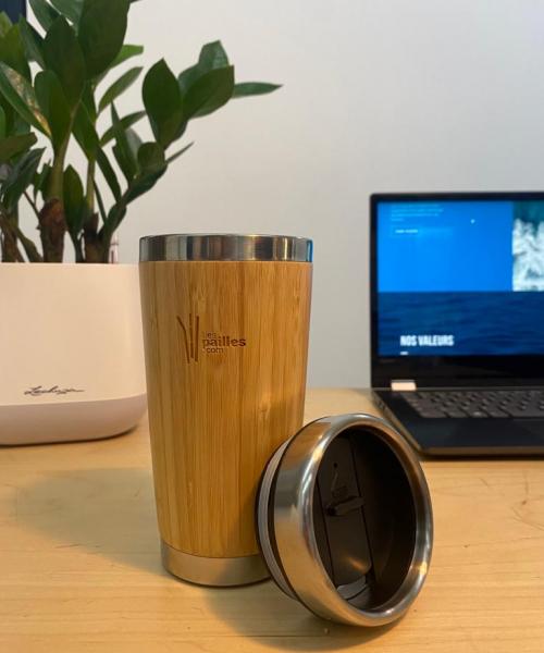Gobelet bambou isotherme réutilisable gravure